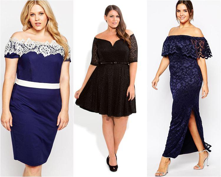 Платья с открытыми плечами для полных 2016