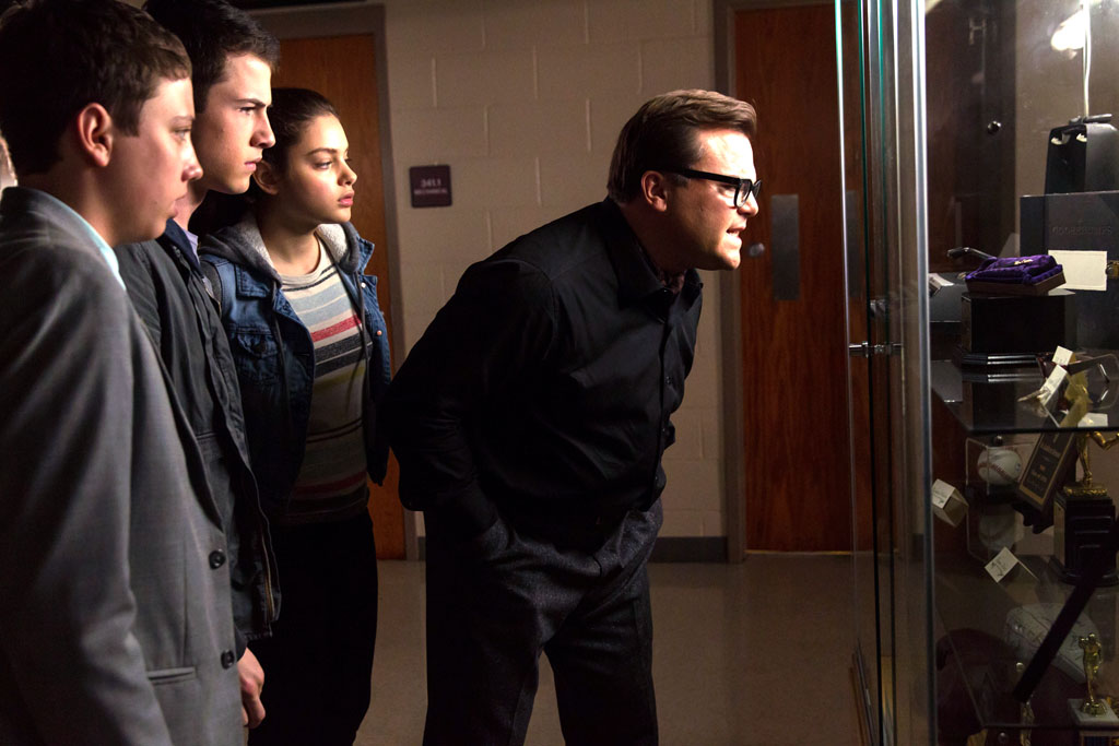 "L-r, Ryan Lee, Dylan Minnette, Odeya Rush and Jack Black star in Columbia Pictures' ""Goosebumps."" - Goosebumps"