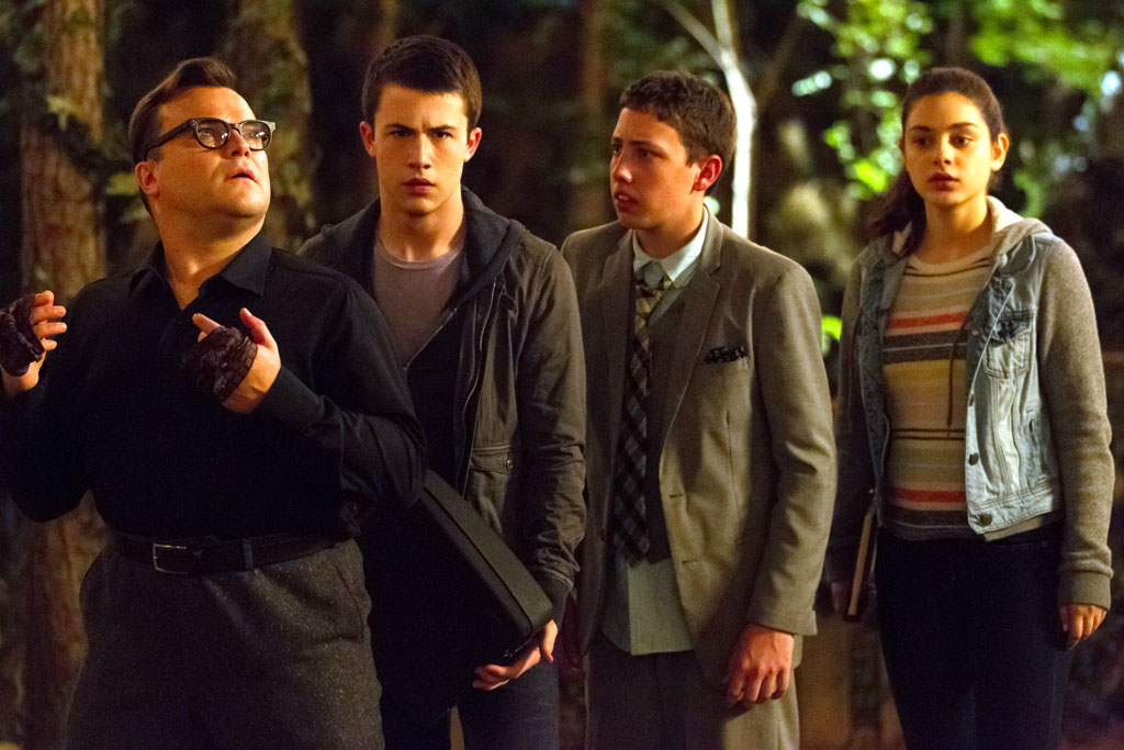 "L-r, Jack Black, Dylan Minnette, Ryan Lee and Odeya Rush star in Columbia Pictures' ""Goosebumps."" - Goosebumps"