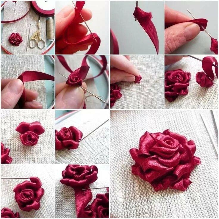 Цветы для начинающих из ленточки своими руками