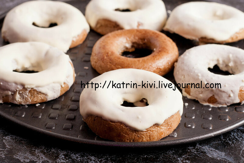 homemade baked donuts with white glaze, close up