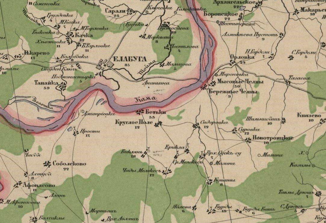 Бетьки на карте Стрельбицкого, 1875 год.
