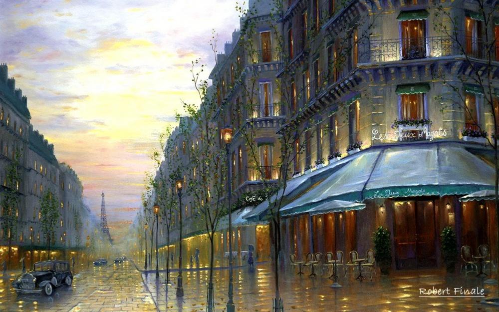 «Парижское кафе», художник Роберт Файнал (Robert Finale).