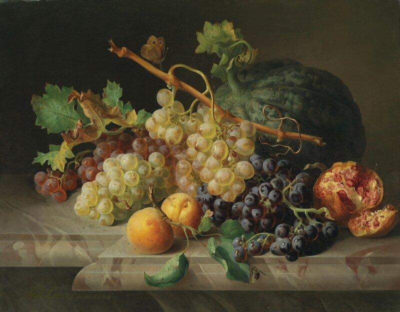 Натюрморт  с гранатом, виноградом и дыней.