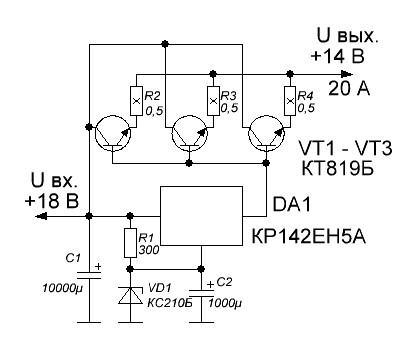 Схема стабилизатора с повышенным выходным током 0_1389ef_8b10ccf9_orig