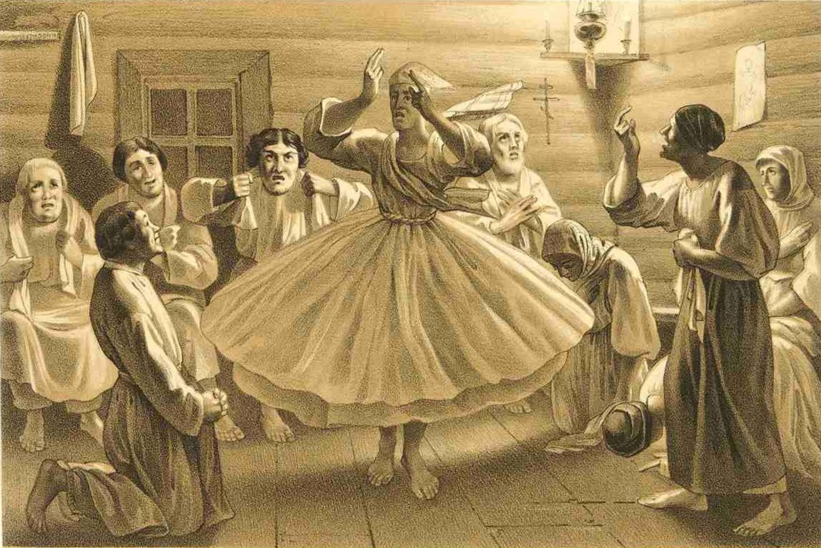 1. Радение женщин. Литография из Исследования о скопческой ереси Даля 1844