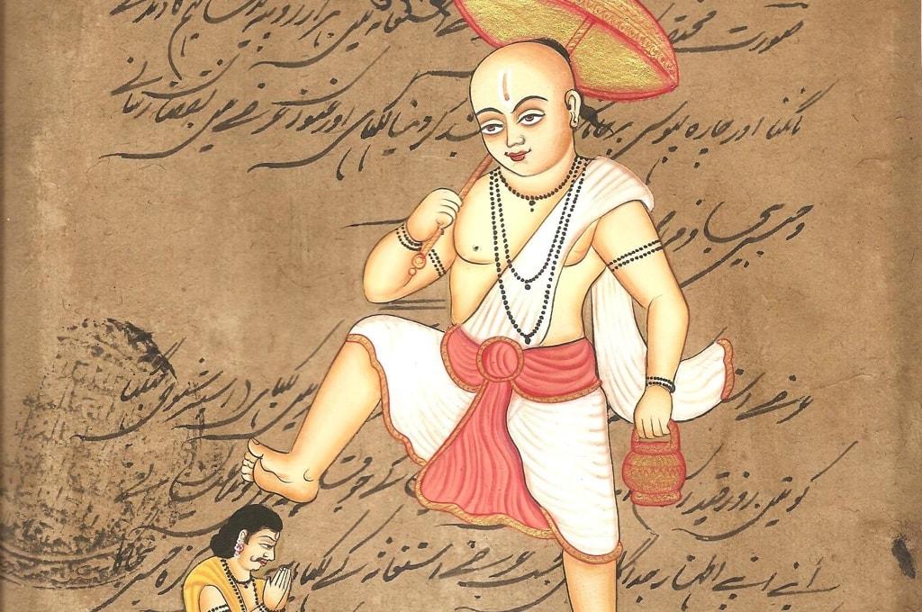 Царь Махабали подставяет свою голову для третьего шага Вишну
