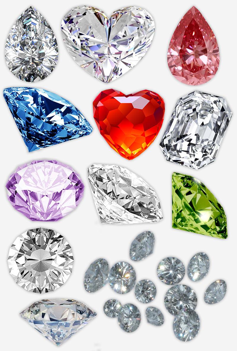 алмазы на прозрачном фоне, PNG для фотошопа