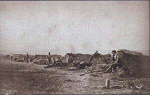 Кавалерия в землянках на подступах к Плевне, ноябрь 1877