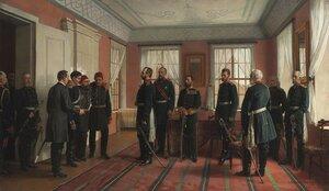Представление пленного Османа-Паши Александру II в Плевне