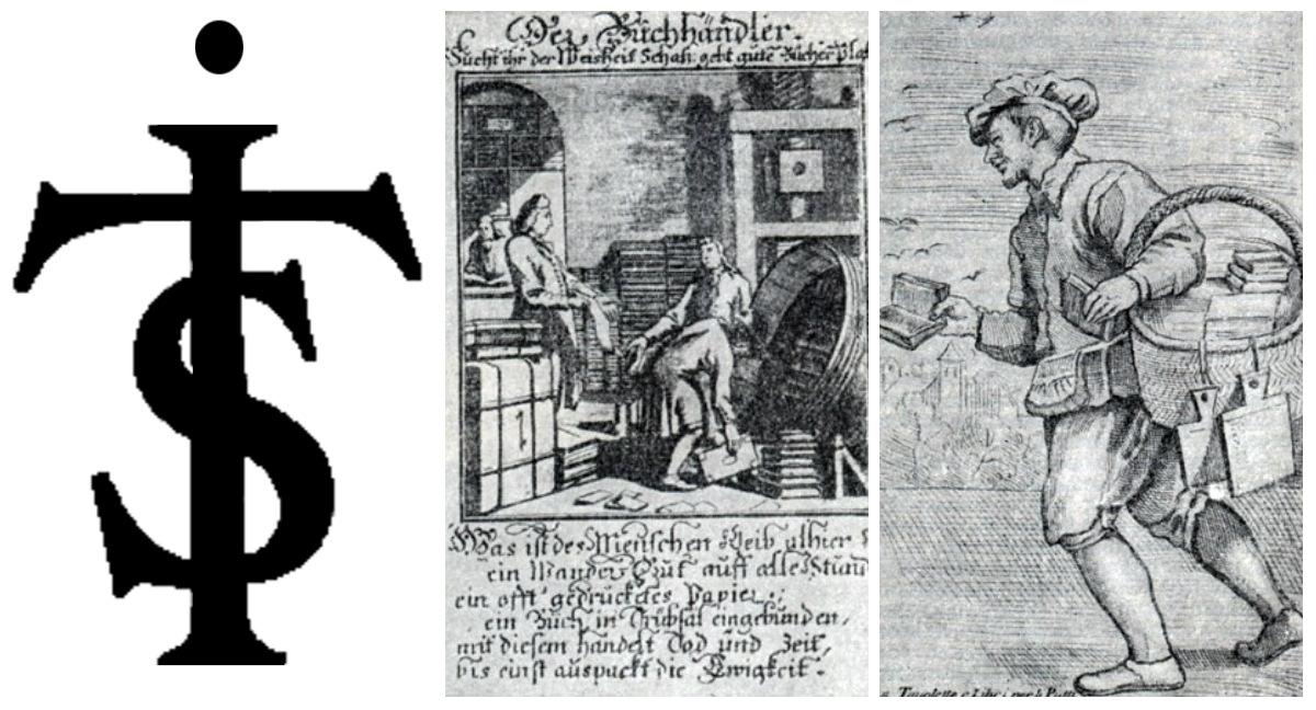 Символ типографии Яна Тесинга, Гравюры: Книгопродавец при распаковке книг и Уличный торговец книгами. Амстердам 17 в.