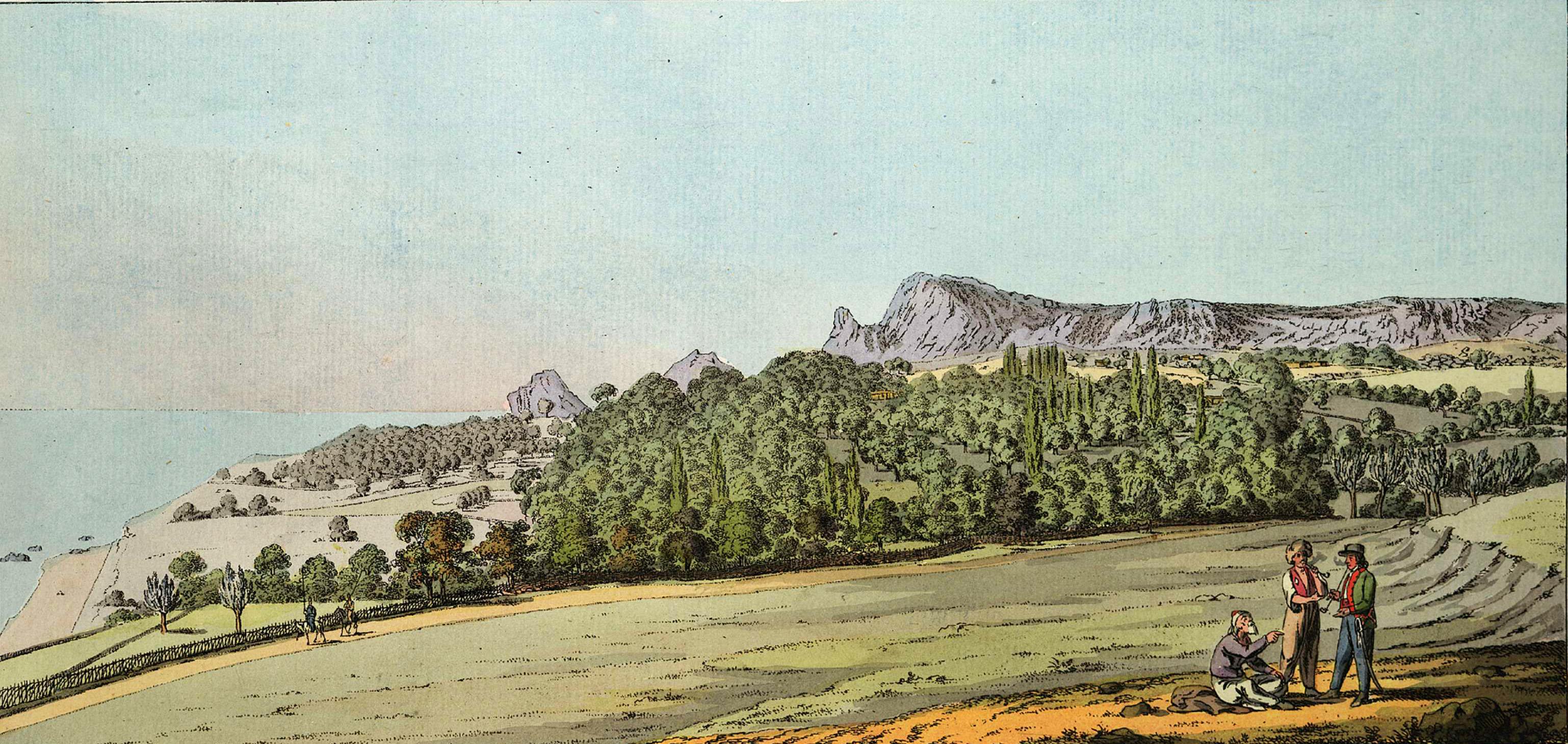 2-11. Долина Семеис, обильно покрытая оливковыми деревьями, окруженная высокими скалистыми горами с открытым видом на море, дающая представление о приятных долинах Южного Крыма.