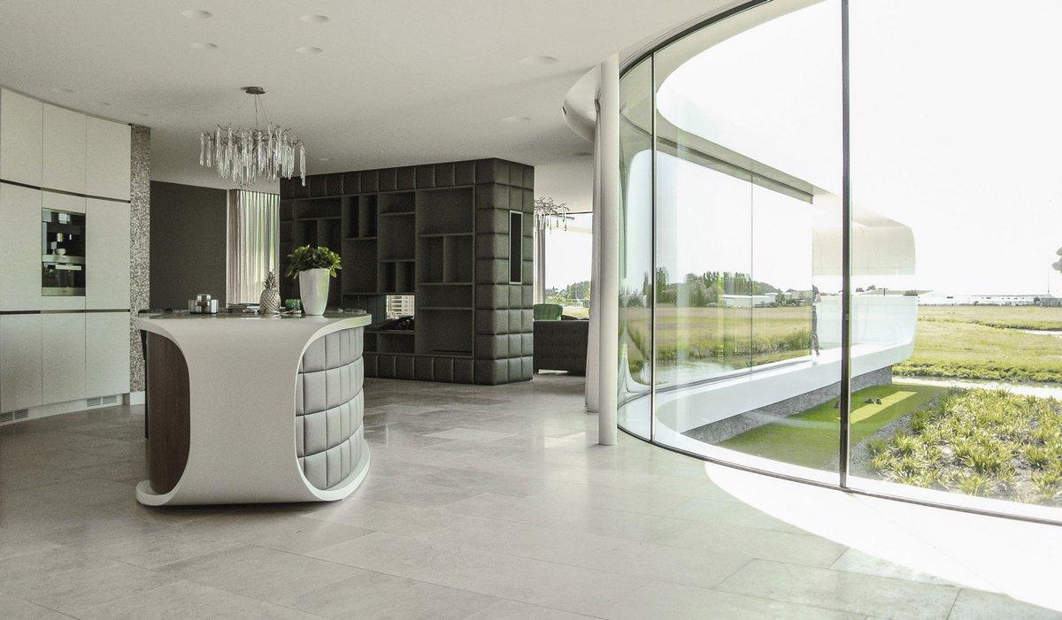 Villa New Water, Waterstudio NL, дом на берегу озера, футуристичный дизайн частного дома, дом на берегу озера, дом с видом на озеро