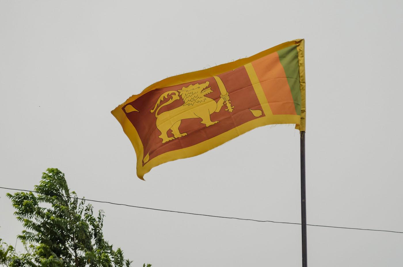 Фото 1. Флаг Шри-Ланки у отеля в городе Полоннарува. Отчет о самостоятельном путешествии по острову на машине, взятой в аренду. Камера Nikon D5100 KIT 18-55 VR.