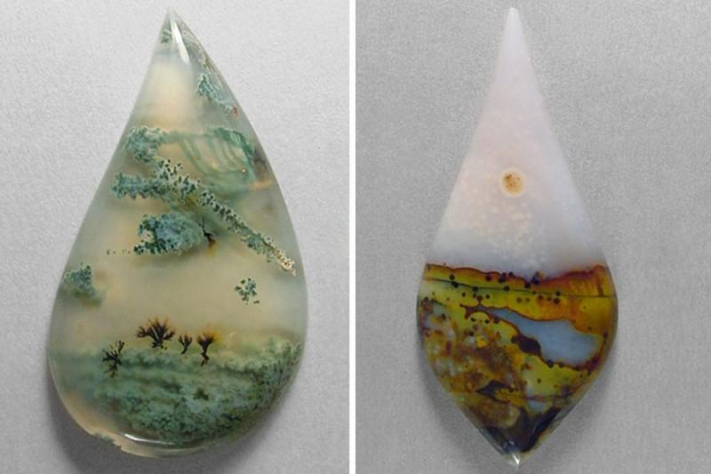 Живописные пейзажи внутри кристаллов агата