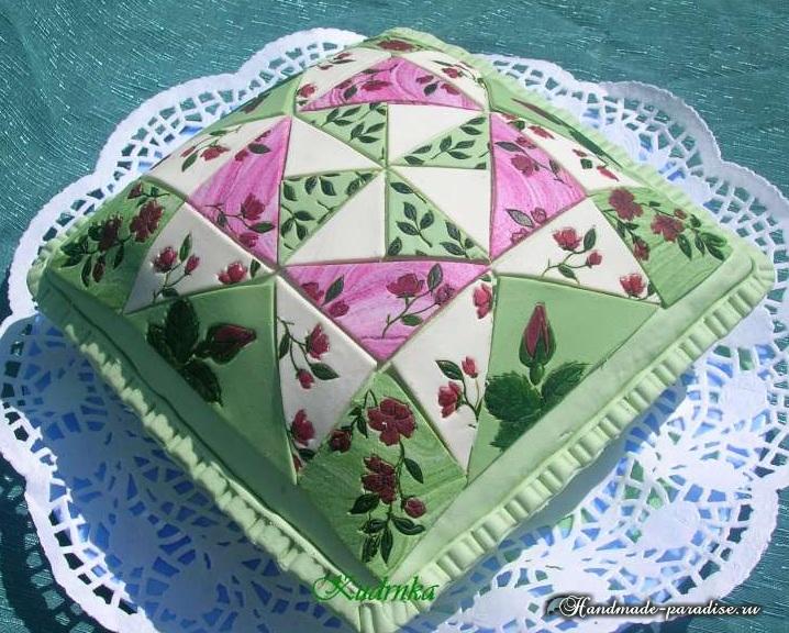 Торт из марципана в технике пэчворк