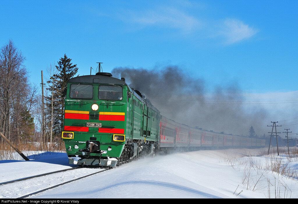 RZD, Passenger train #139 Novosibirsk - Adler, Locomotive 2TE10M-2242, Ibresi - Buinsk stretch, Chuvashia, Russia, March 26, 2011.