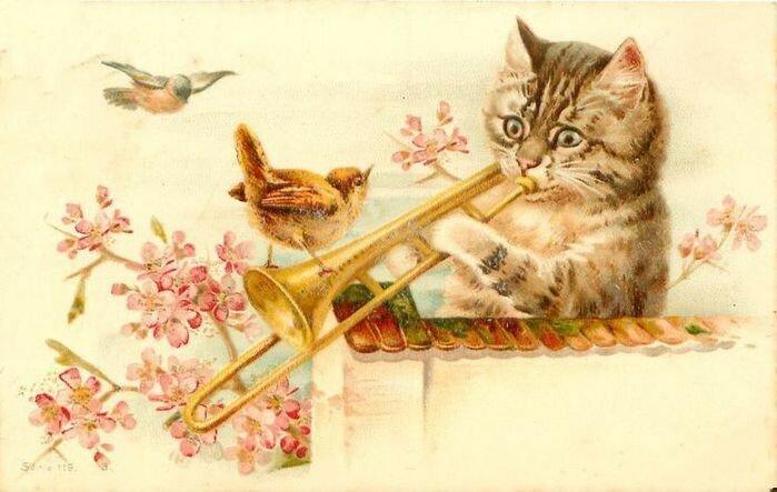 Дню учителя, старинные открытки котов