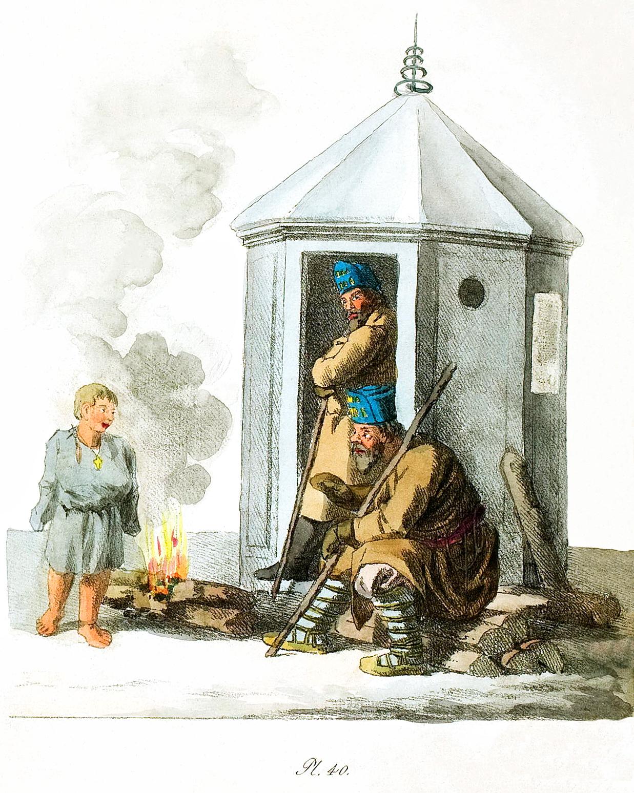 40. Wachthütte mit zwei Wächtern / Караульная будка и два сторожа