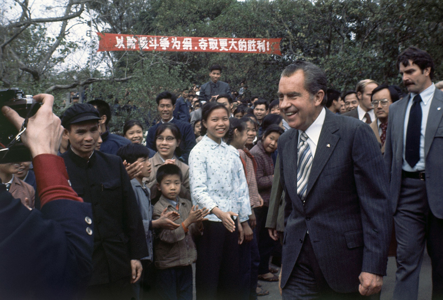 Former U.S. President Richard Nixon visits Canton Park in Canton, China, on February 28, 1976.