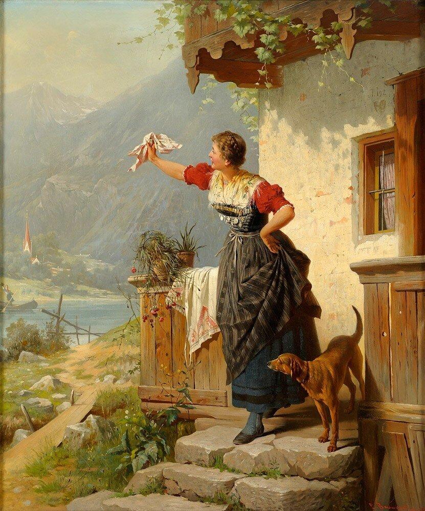 Baumgartner, Peter 1834 München - 1911 München Ein herzliches Willkommen..jpg