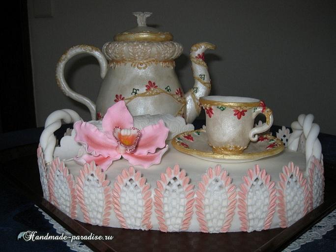 Торт из марципана. Чайный сервиз