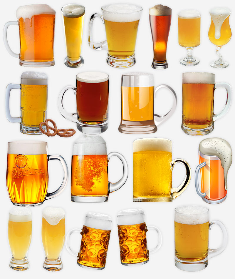 Пиво в бокалах и кружках, клип-арты PNGg