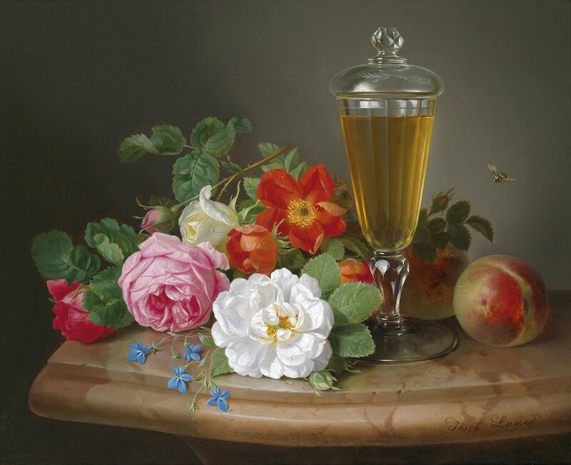 Натюрморт с розами, персиками и бокалом вина