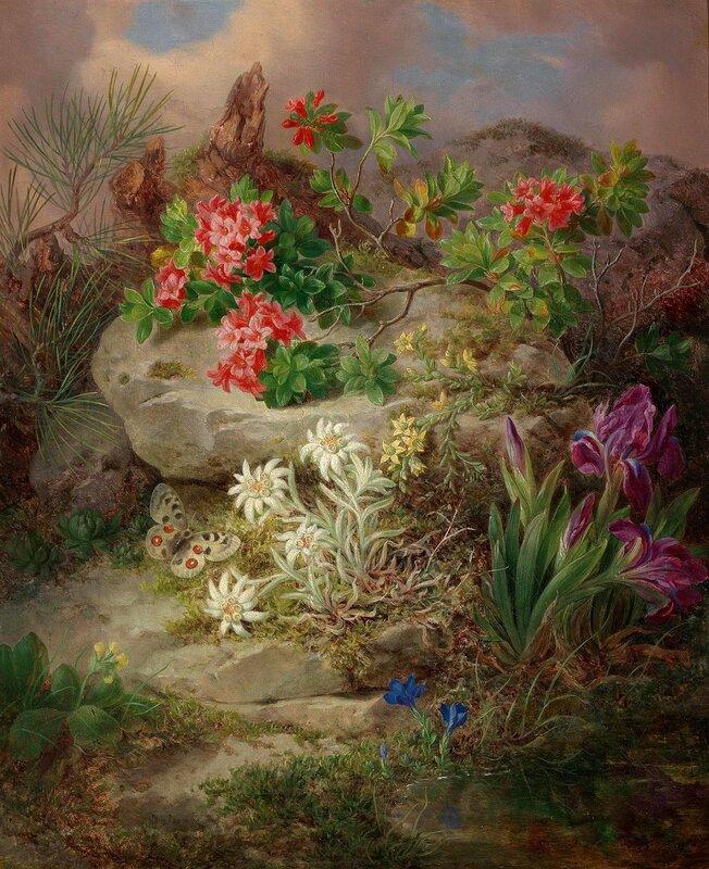 Альпийские цветы с бабочкой. Австрийский мастер натюрмортов ХIХ века - Йозеф Лауэр