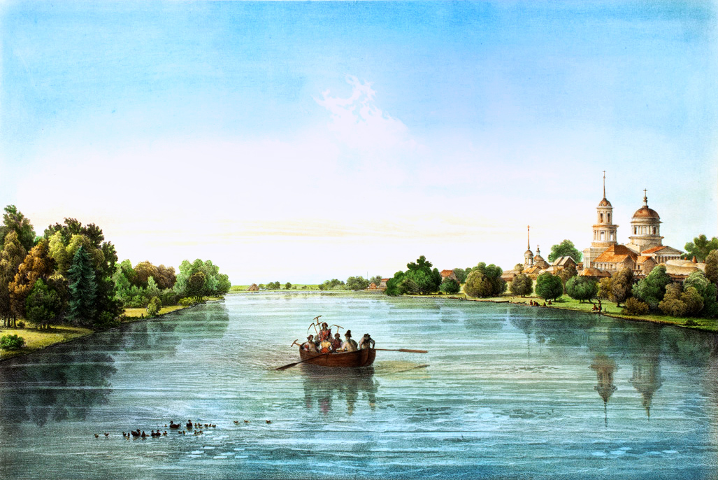 Вид пруда и церкви села Шаблыкино с острова Гага.