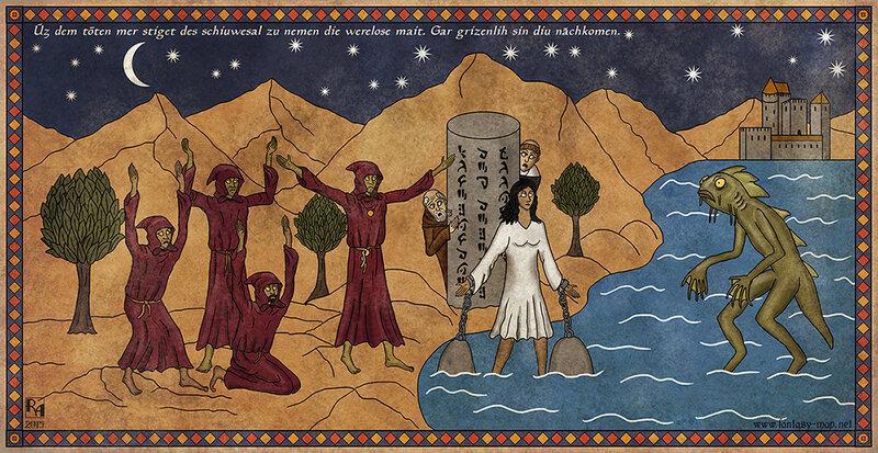 Монахи–вероотступники приносят жертву Глубоководным
