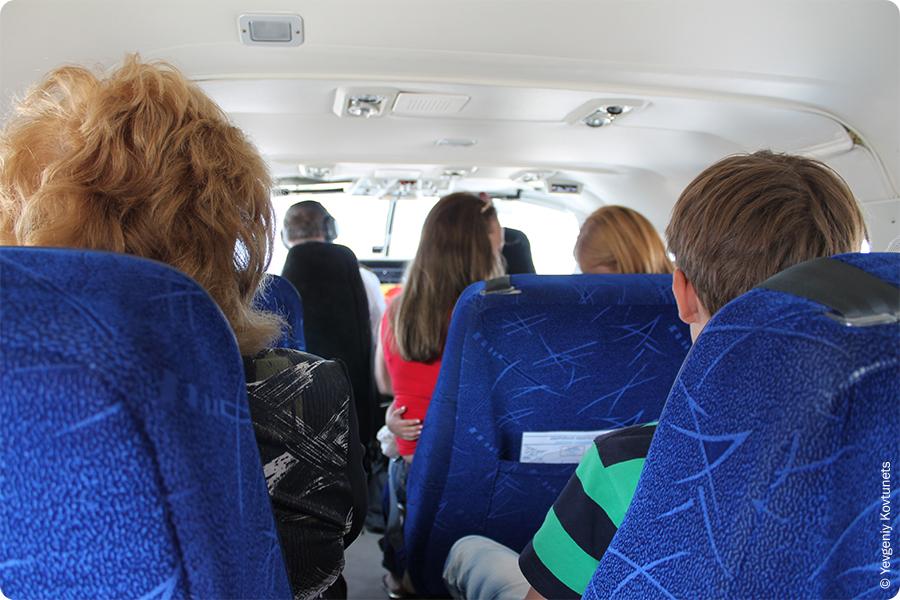 В салоне пассажирского самолета сessna 208 caravan авиакомпании ПАНХ