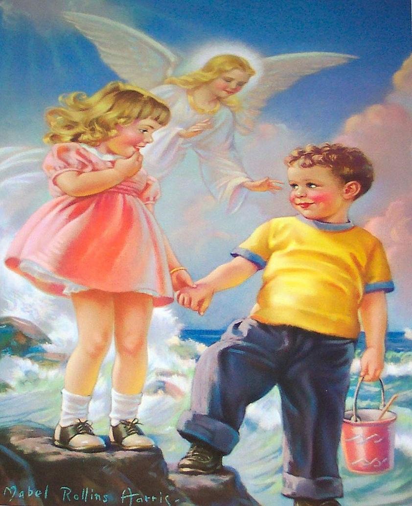 Открытка ангел и дети на мосту