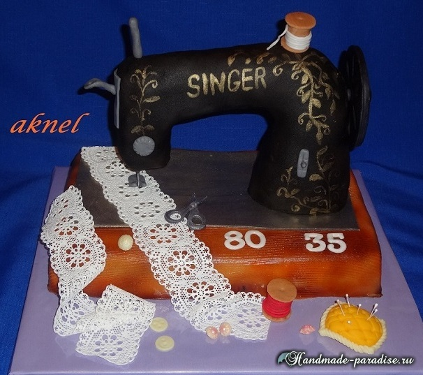 Швейная машинка - торт из марципана