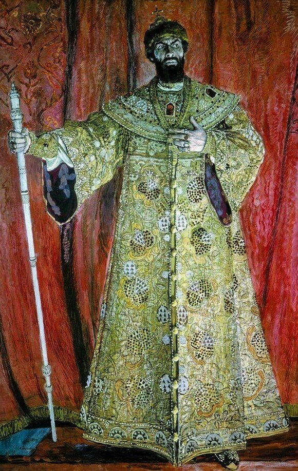 Портрет Федора Ивановича Шаляпина в роли Бориса Годунова в одноименной опере М.П.Мусоргского. 1912