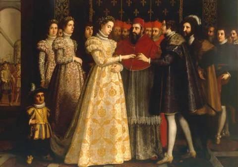 10 июля 1559 года из-за ран, полученных на турнире, умер Генрих II. Копье врага скользнуло по ег