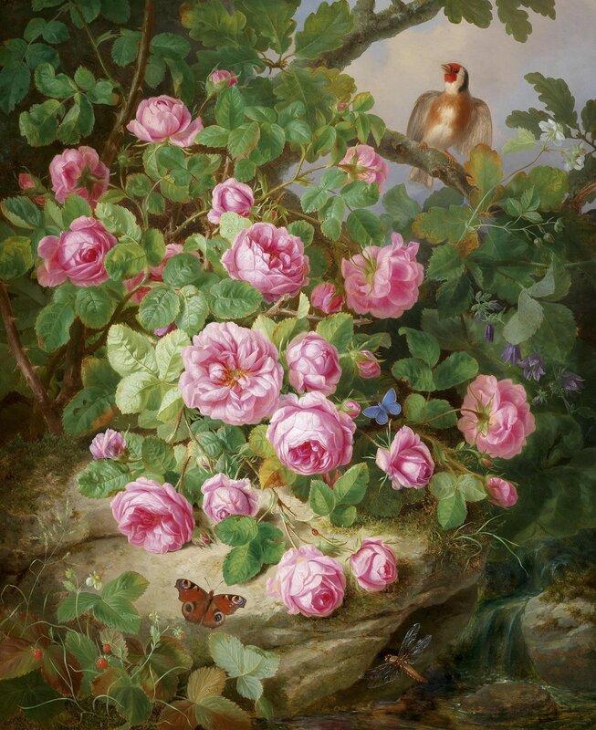Большой декоративный натюрморт с розами, бабочками и птицей. Австрийский мастер натюрмортов ХIХ века - Йозеф Лауэр