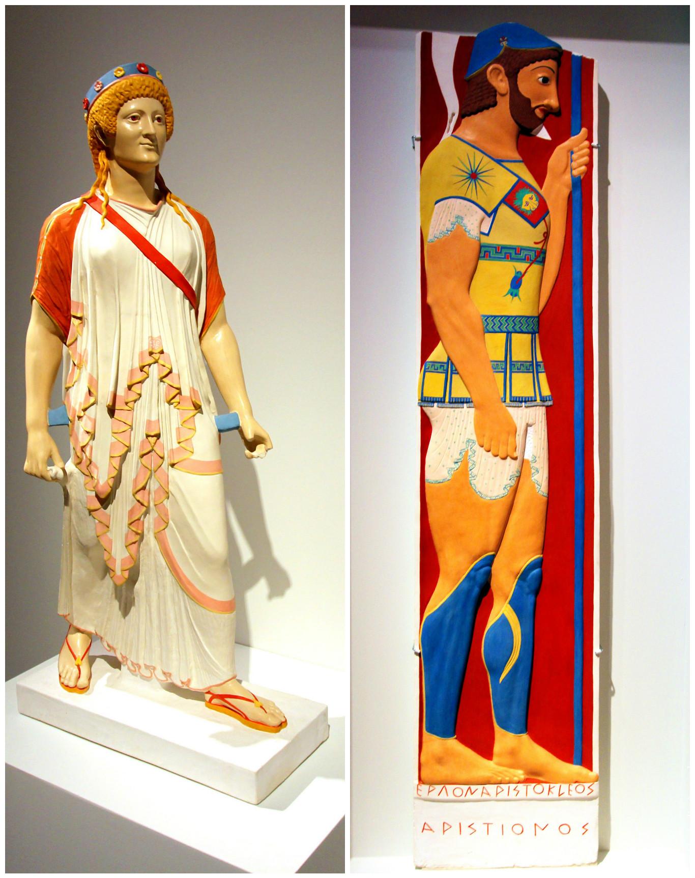 5 и 6. Артемис из Помпей и Надгробная стела Аристиона (мастер Аристокл, Национальный музей, Афины, около 510 г. до н.э.)