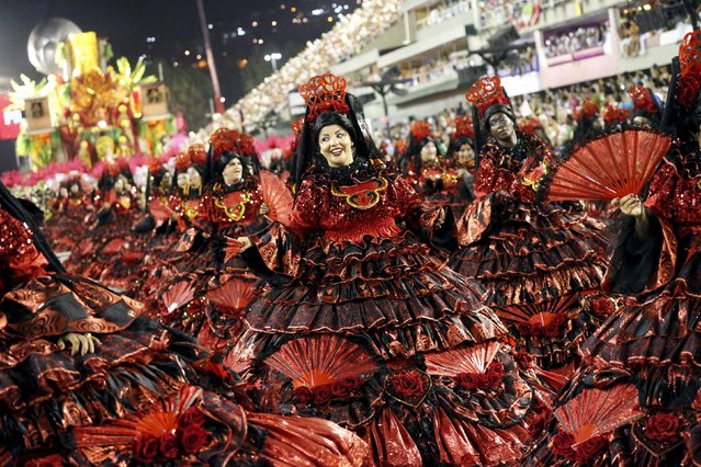 Revellers of Salgueiro samba school perform during the carnival parade at the Sambadrome in Rio de J