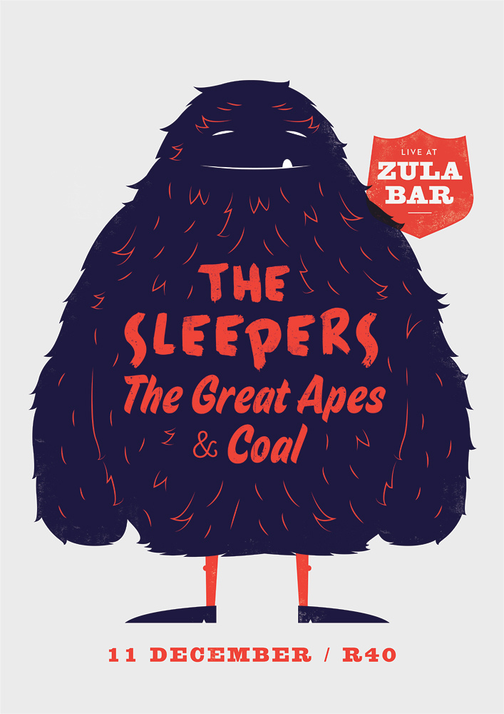 The Sleepers, The Great Apes & Coal - Furry Monster by Adam Hill