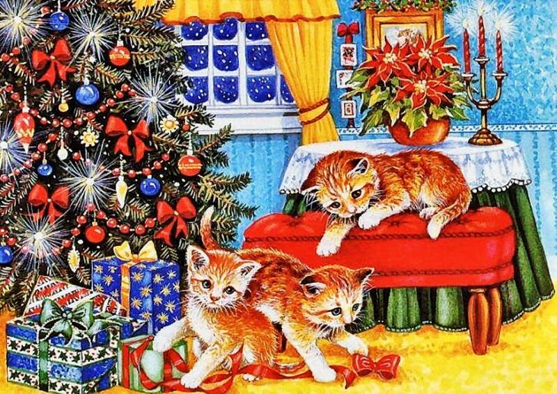 Открытки с новым годом и с котами, сделать открытку сюрпризом