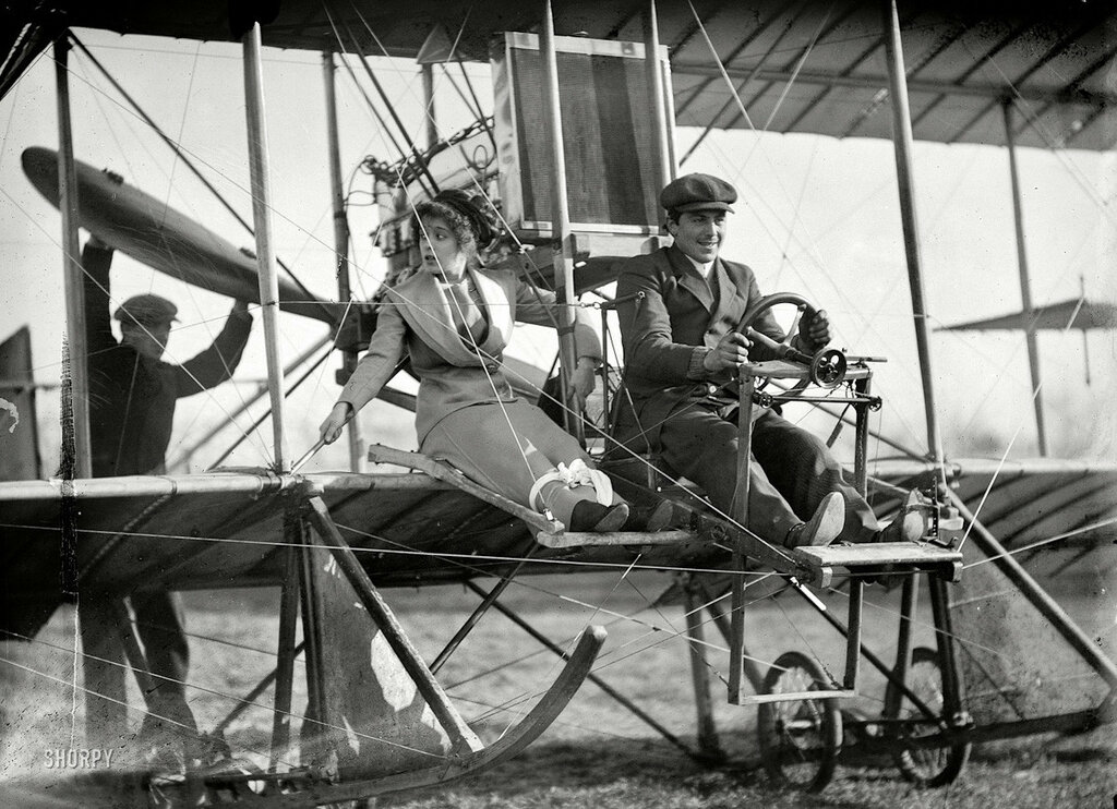 1911 Washington, D.C. Senorita Lenore Riviero with Antony Jannus in Rex Smith aeroplane.jpg