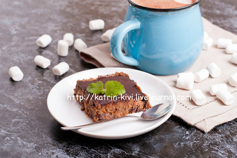 beautiful chocolate cake slice, decorated mint and marshmallows