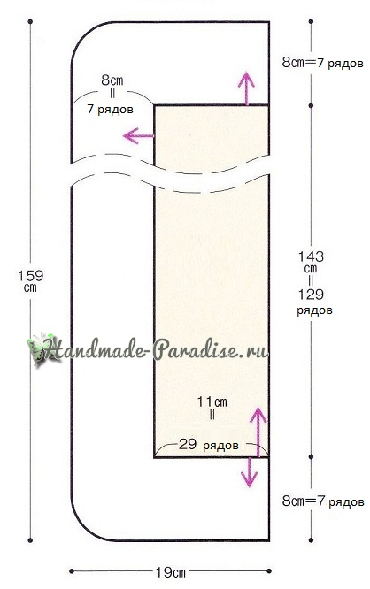 Схема вязания шали крючком с обвязкой узором ананас