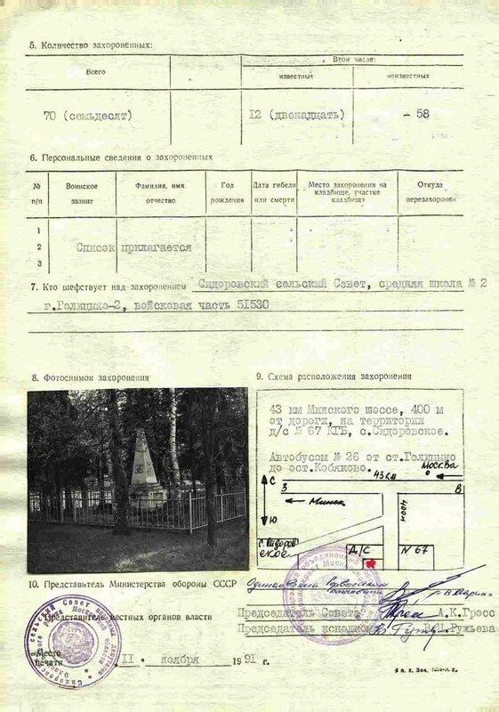 Учетная карточка воинского захоронения 1991 г., Братская могила воинов РККА, Краснознаменск