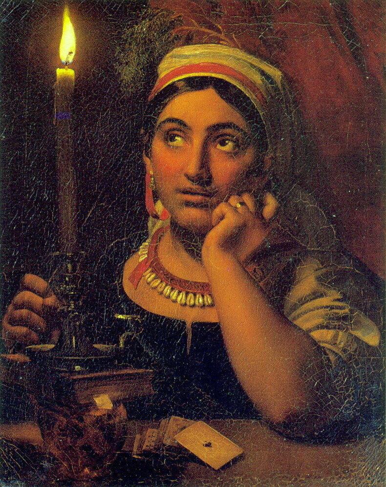 Ворожея со свечой. 1828. Холст, масло. 64х51. ГРМ.jpg