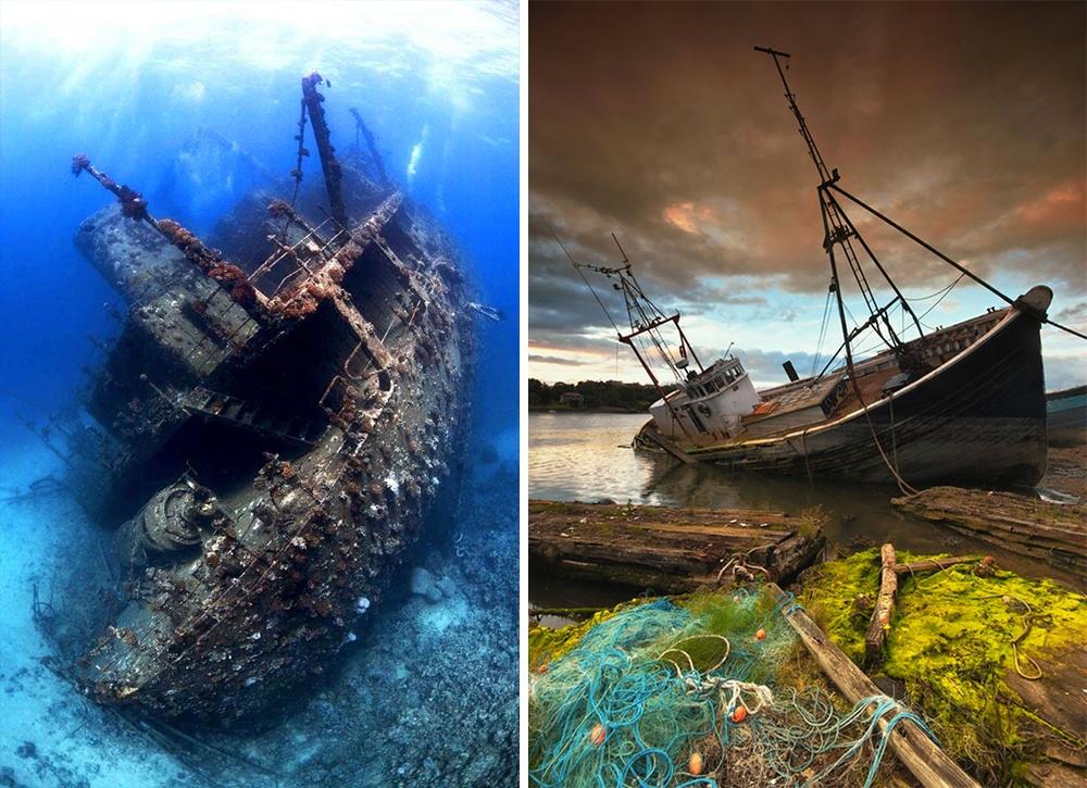 Огромное грузовое судно надне Красного моря, которое давным-давно налетело нариф изатонуло,— одн