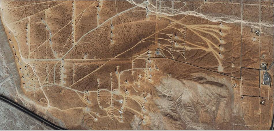 25. Каскады ветряков в Палм Спрингс, США.