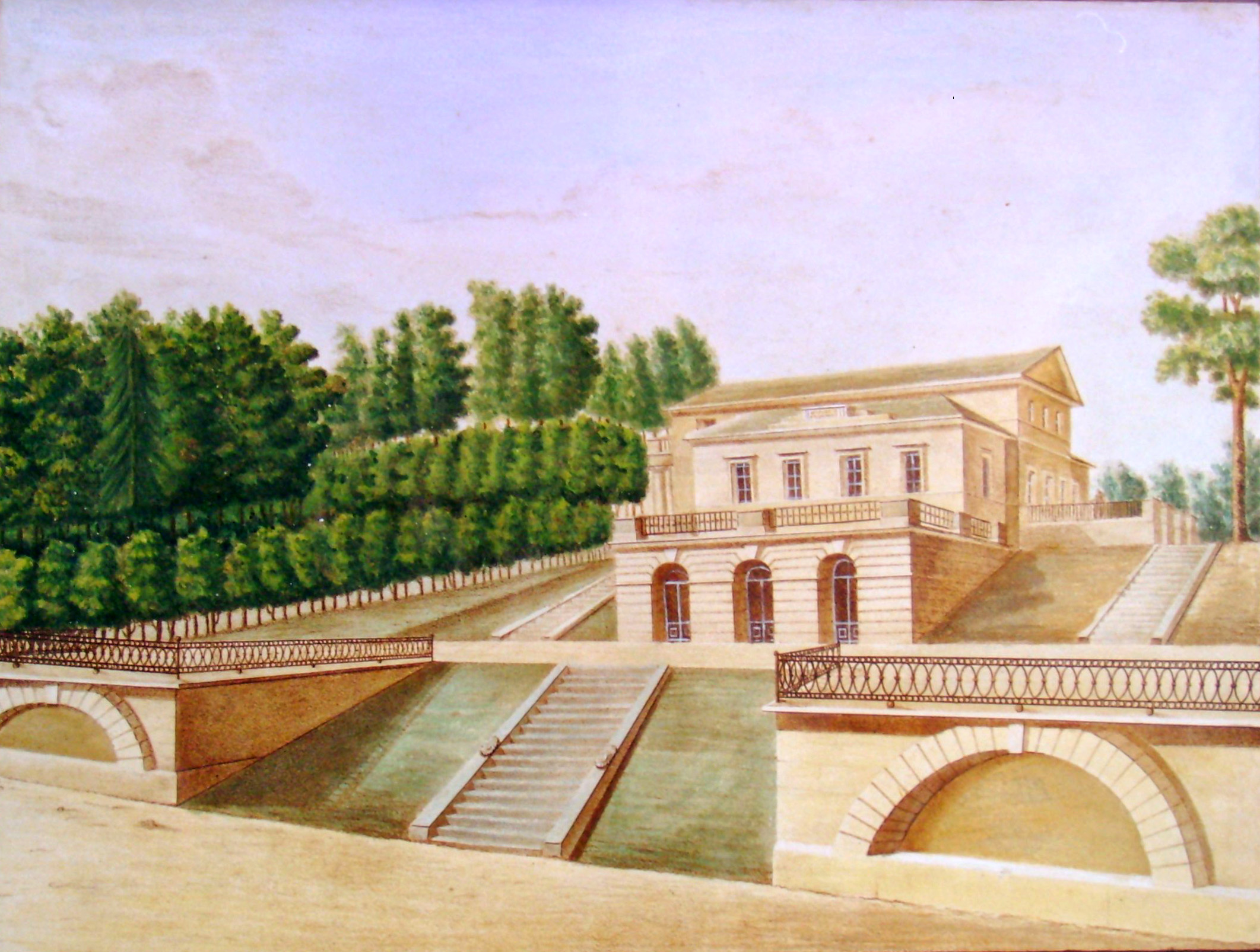 18. Вид от прудов Грузинского деревянного дома с гротами. Р<исовал> на ка<мне> М. М. Зверев. 1823.