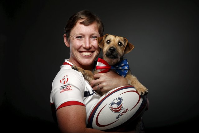 Rugby player Jillion Potter poses for a portrait with her dog Cody at the U.S. Olympic Committee Med